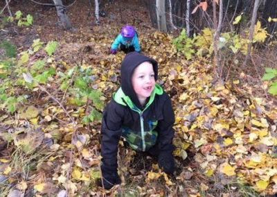 Teo on leaf slide